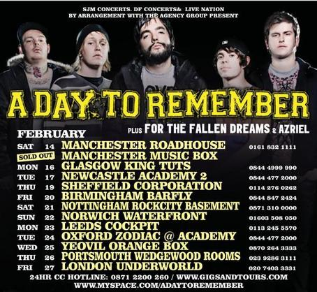 For The Fallen Dreams Tour Dates 2011