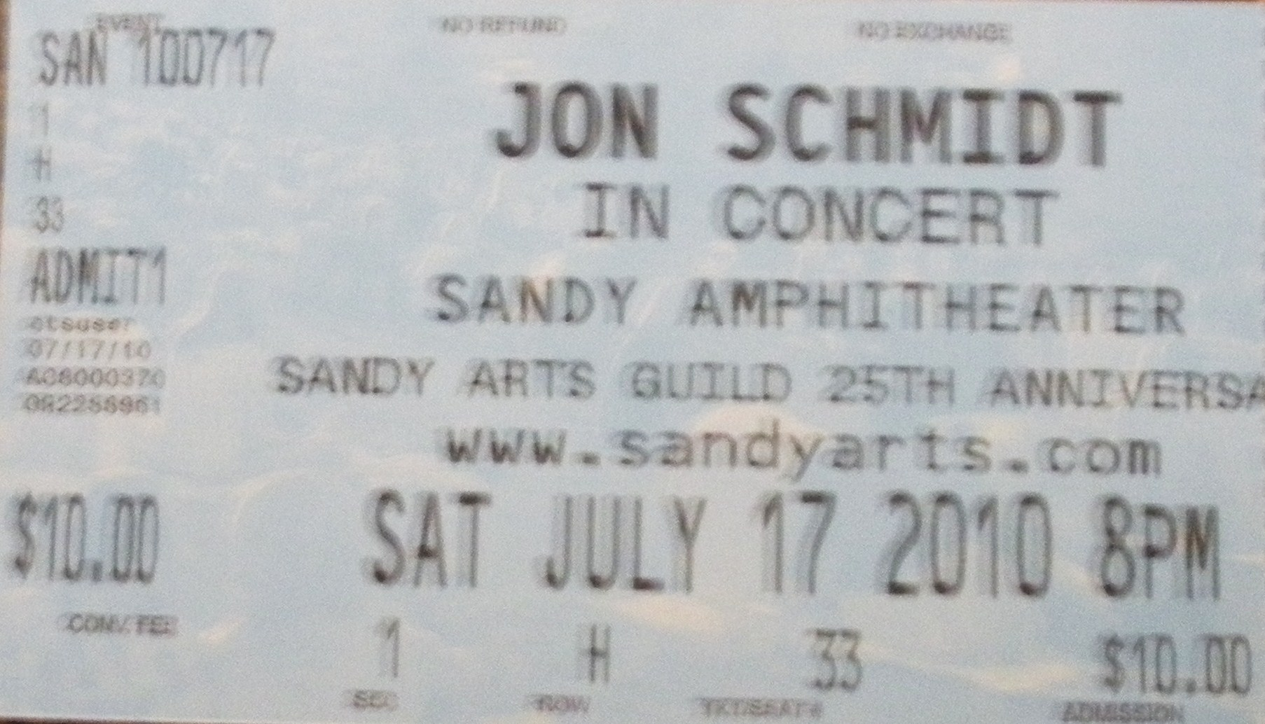 Jon Schmidt Sandy Tickets