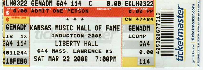 Kansas Music Hall Of Fame Tickets Liberty Hall