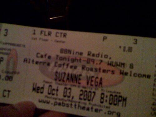 Tickets Suzanne Vega Show