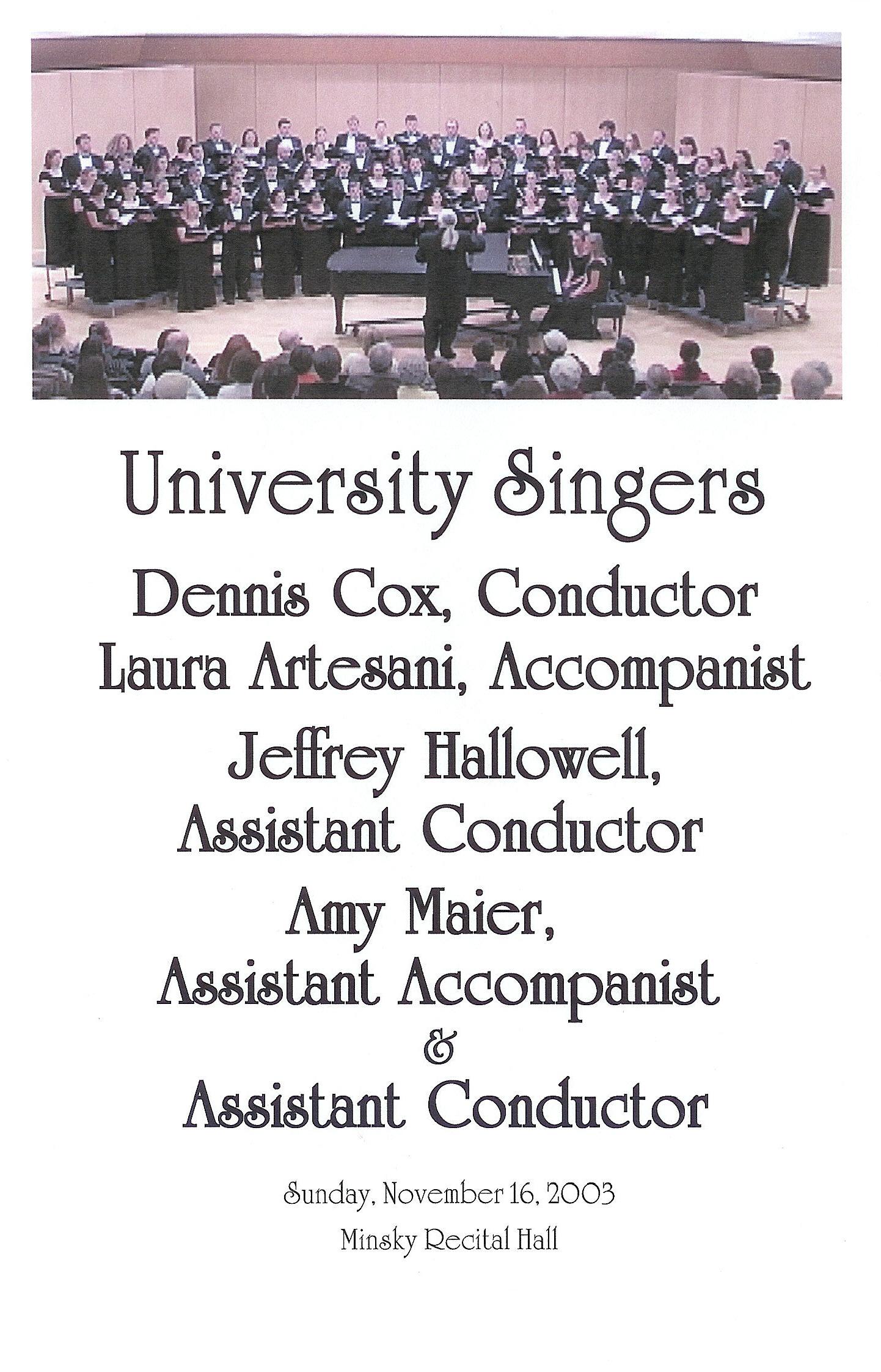 University Singers 2011 Tour Dates