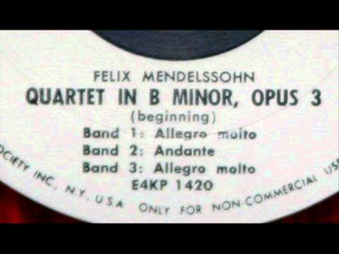 Mendelssohn / Frank Pelleg, 1954: Quartet in B minor for Piano and Strings, Op. 3 - Complete
