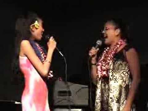 Sonya Mendez and Allison at the Banana Patch Lounge singing The Hawaiian Wedding Song for Aloha Joe Listeners Party at the Mirimar Hotel in Wiakiki