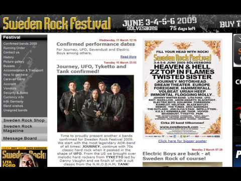 JOURNEY / ARNEL PINEDA WILL PERFORM AT SWEDEN ROCK FESTIVAL ON JUNE 3-4-5-6, 2009