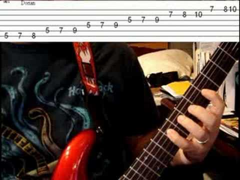 scale modes - Lesson 2 - A Dorian w/tablature - solo lead guitar