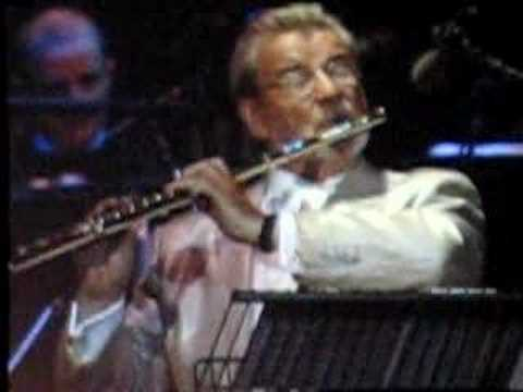 Sir James Galway with Andrea Boccelli in London O2 Arena 200