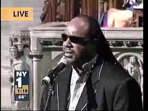 Stevie Wonder at Luther Vandross` funeral