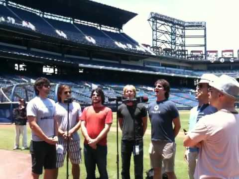 Yacht Rock Revue rehearses the National Anthem at Turner Field