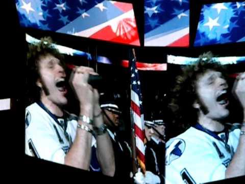 Paulie Z singing the National Anthem